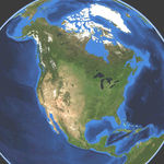 Satellite map of North America