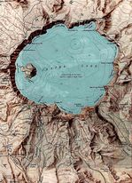 Crater Lake National Park Shaded Relief Map, Oregon, United States