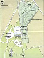 Mapa del Parque Militar Nacional de Gettysburg, Pensilvania, Estados Unidos