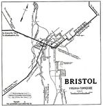Bristol City Map, Virginia, Tennessee, United States 1919