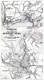 Mapa de Norfolk y Portsmouth, Newport News, Hampton y Old Point Comfort, Fortaleza Monroe, Virginia, Estados Unidos 1919
