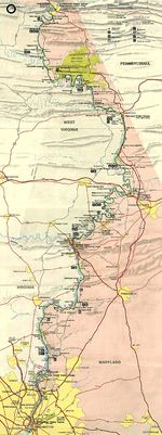Chesapeake and Ohio Canal National Historic Park Map, Washington D.C., Maryland, West Virginia, United States