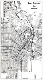 Los Angeles City Map, California, United States 1917