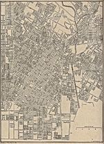 Los Angeles (Central) City Map, California, United States 1917