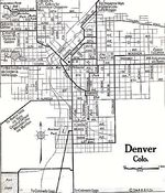 Denver City Map, Colorado, United States 1920