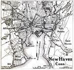 New Haven City Map, Connecticut, United States 1920