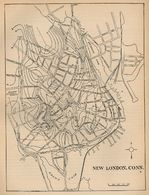 Mapa de la Ciudad de New Londres, Connecticut, Estados Unidos 1880
