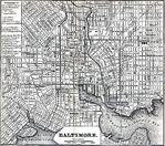 Baltimore City Map, Maryland, United States 1848