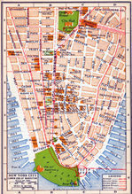 Mapa del Lower End Manhattan, Ciudad de Nueva York, Nueva York, Estados Unidos 1916