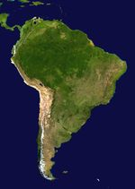 South America satellite orthographic projection view