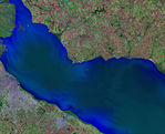 Satellite Image, Photo of Río de la Plata, Buenos Aires City, Argentina