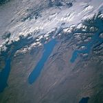 Satellite Image, Photo of Lakes Viedma, San Martin, Argentino, Argentina
