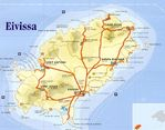 Map of Ibiza Island, Balearic Islands Autonomous Community, Spain