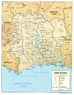 Mapa de Relieve Sombreado de Côte d'Ivoire
