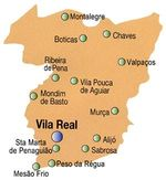 Vila Real District Map, Portugal
