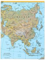Asia Shaded Relief Map 2003