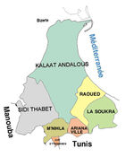 Ariana Governorate Map, Tunisia