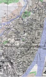 Mapa de la Ciudad de Pyongyang, Corea del Norte 1946