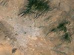 Imagen radar, el color como altura, Salalah, Omán