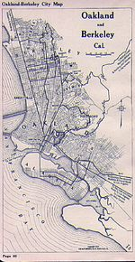 Oakland and Berkeley City Map, California, United States 1917