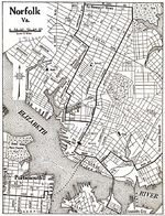 Mapa de la Ciudad de Norfolk, Virginia, Estados Unidos 1920