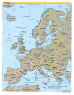Europe shaded relief map 2004