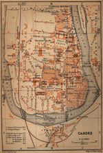 Mapa de Cahors, Francia 1914