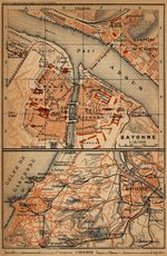 Environs of Bayonne Map, France 1914