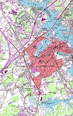 Portsmouth Topographic City Map, New Hampshire, United States