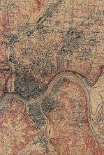 Mapa de la Ciudad de Cincinnati , Ohio, Estados Unidos 1914