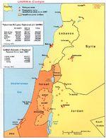 Mapa de los Campos de la UNRWA, Oriente Medio 1973