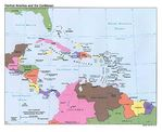 Central America and the Caribbean Political Map 1993