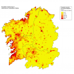 Population density map of Galicia 2008