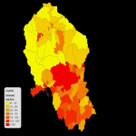 Population density of the Province of Córdoba 2008