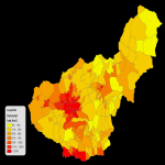 Population density of the province of Granada 2008