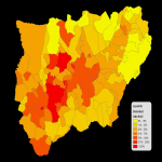 Population density of the province of Jaén 2008