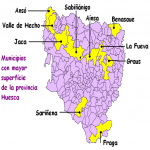 Main municipalities by extension in the province of Huesca