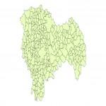 Mapa político-físico de Renania del Norte-Westfalia 2009