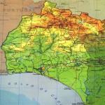Mapa físico de la provincia de Huelva