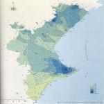 Mapa de Precipitación media anual en la Comunidad Valenciana