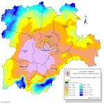 Mapa de Precipitación anual total en Castilla y León