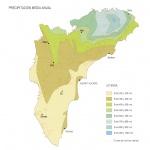 Mapa de Precipitación media anual en la Provincia de Alicante