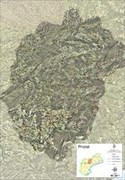 Satellite and road map of the comarca of Priorat