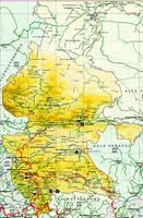 Mapa Topográfico del Norte y Oriente de Burkina Faso, Níger Occidental y MalíOriental