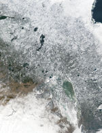 Snow in central Canada