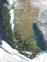 Satellite Image, Photo of Tierra del Fuego, South America