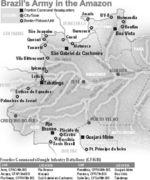 Mapa del Ejército de Brasil en el Amazonas