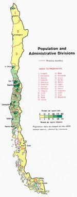 Mapa de Población y Divisiones Administrativas de Chile