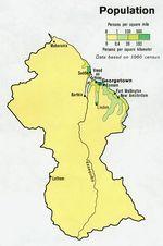 Mapa de Población de la Guyana