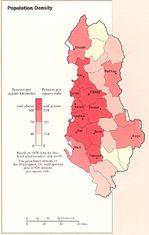 Mapa de la Densidad Poblacional de Albania